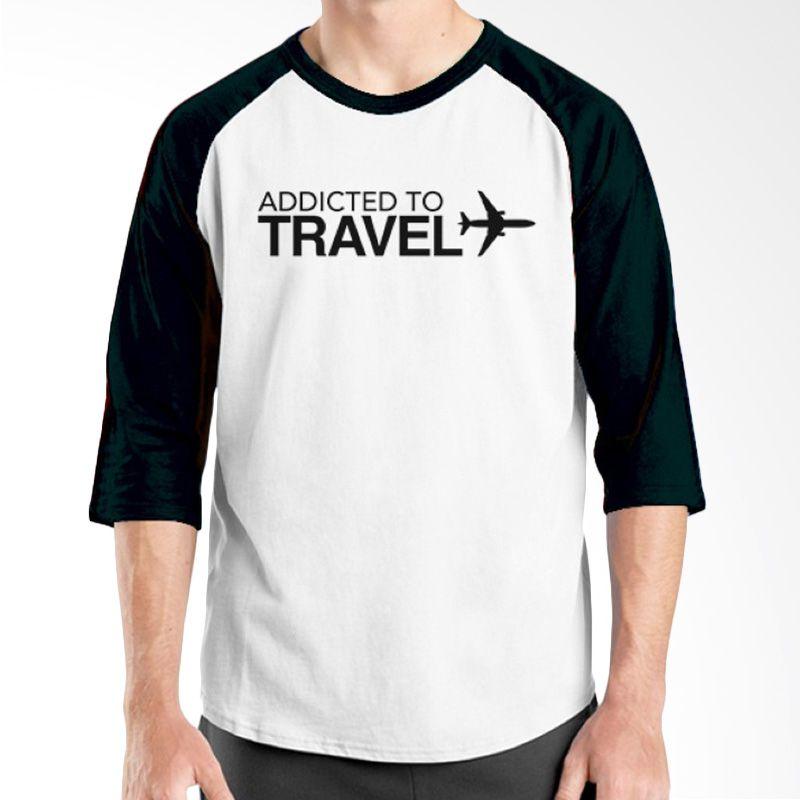 Ordinal Raglan Travel Quotes 14 Putih Hitam Kaos Pria
