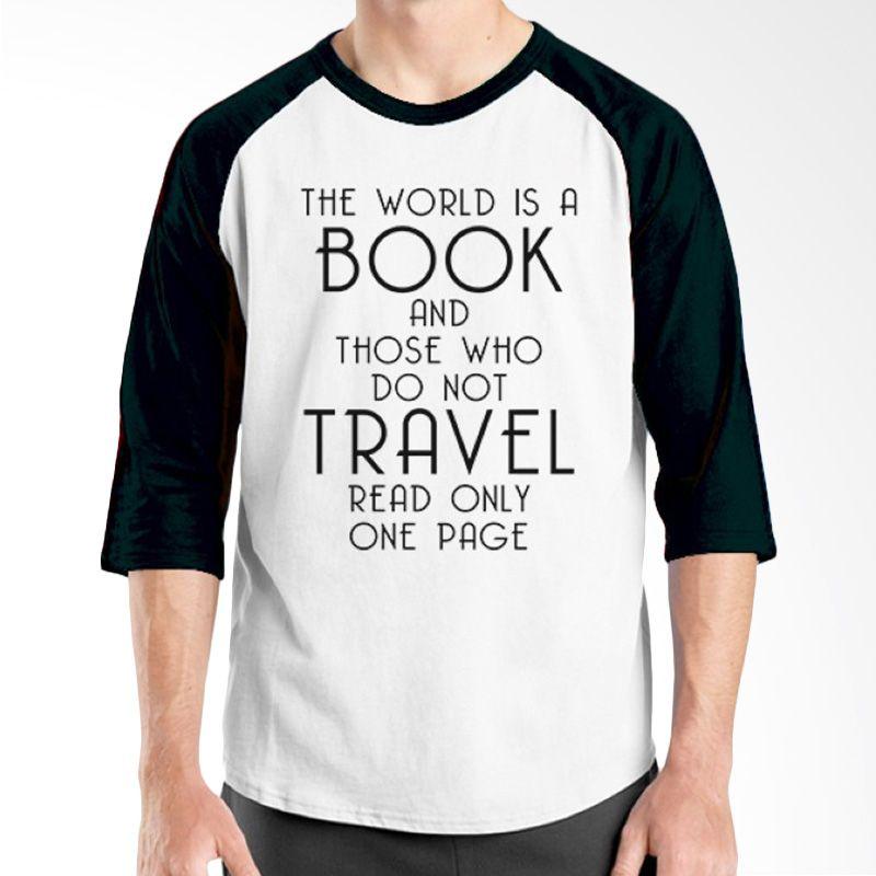 Ordinal Raglan Travel Quotes 15 Putih Hitam Kaos Pria