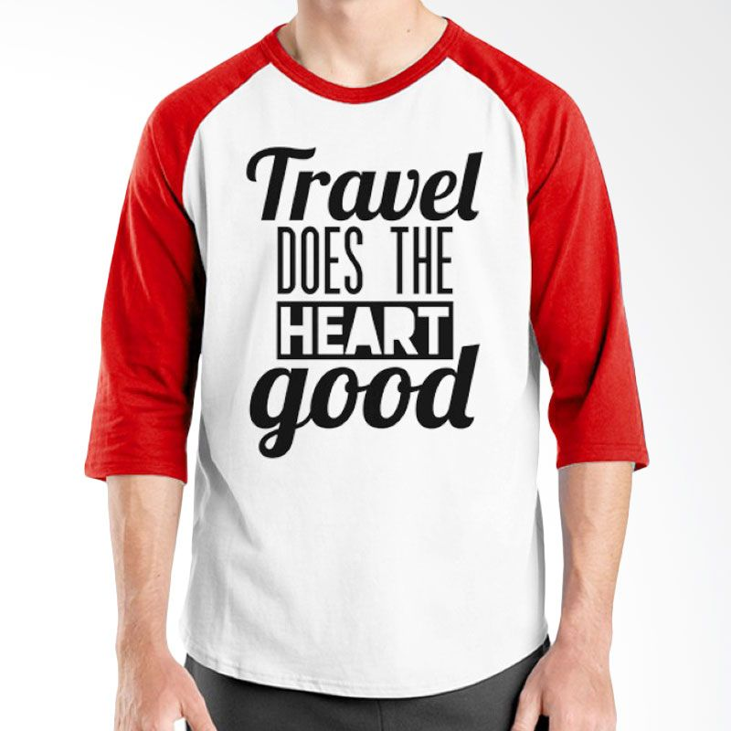 Ordinal Raglan Travel Quotes 16 Putih Merah Kaos Pria