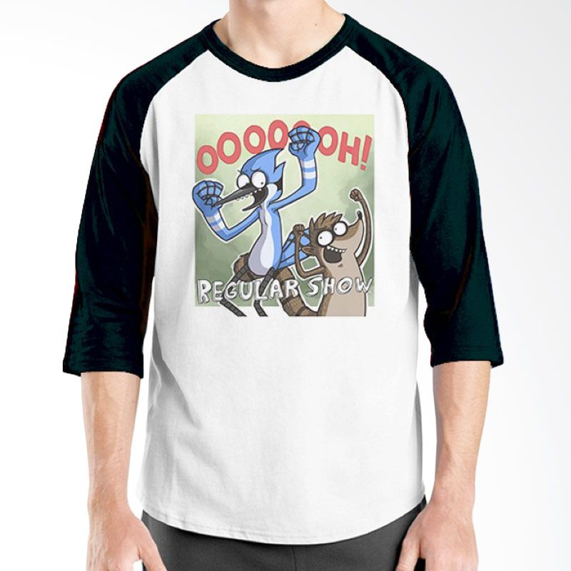 Ordinal Regular Show 03 Raglan Hitam Putih T-Shirt Pria