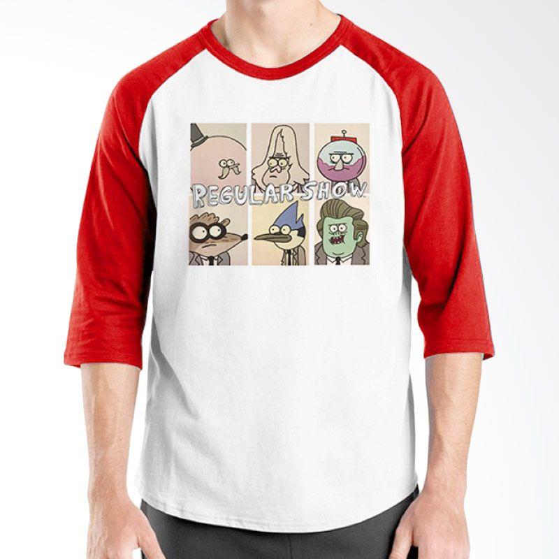 Ordinal Regular Show 07 Raglan Merah Putih T-Shirt Pria