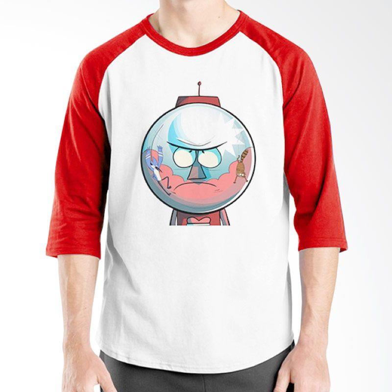 Ordinal Regular Show 10 Raglan Merah Putih T-Shirt Pria
