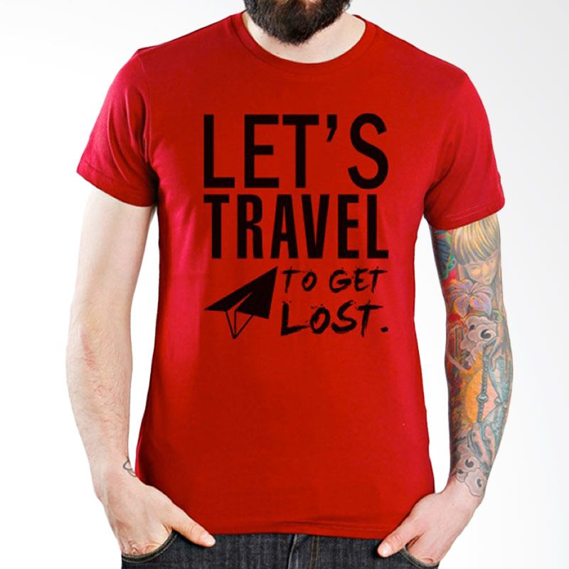 Ordinal Travel Quotes 07 Merah Kaos Pria
