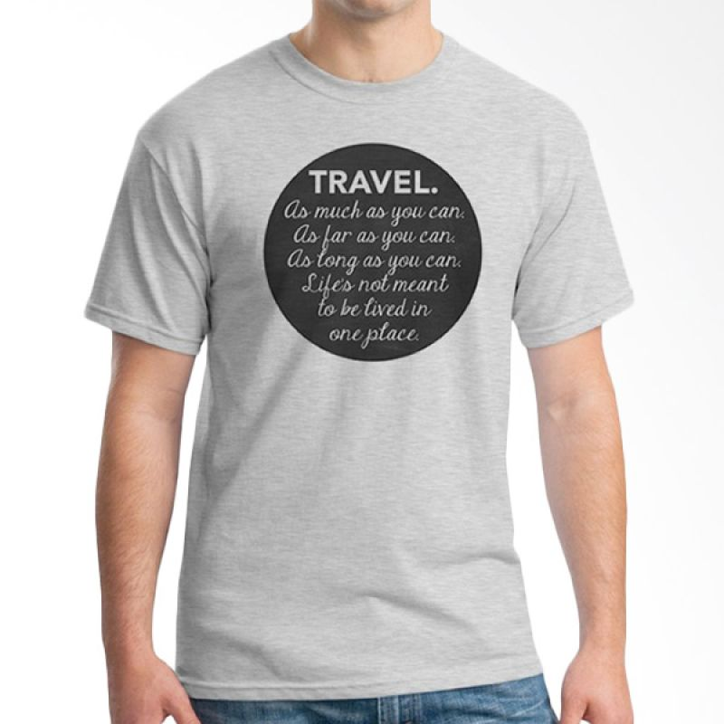 Ordinal Travel Quotes 10 Grey T-Shirt Pria