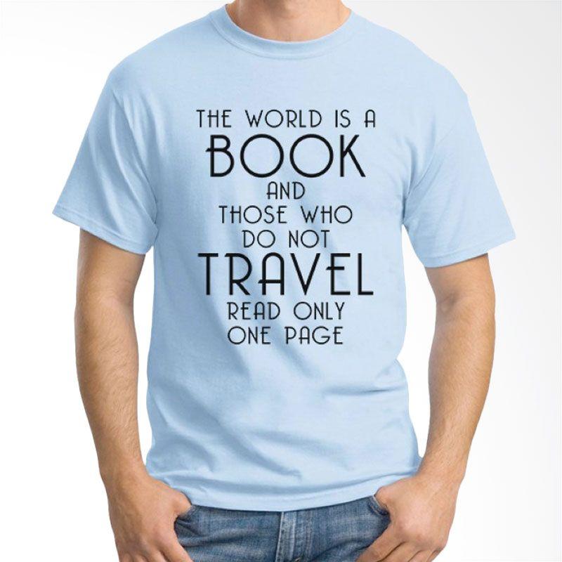 Ordinal Travel Quotes 15 Biru Muda Kaos Pria