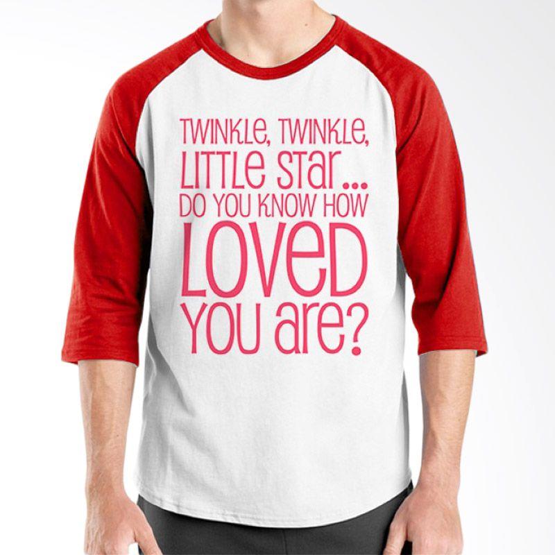 Ordinal Raglan Typography Love 03 Putih Merah T-Shirt Pria