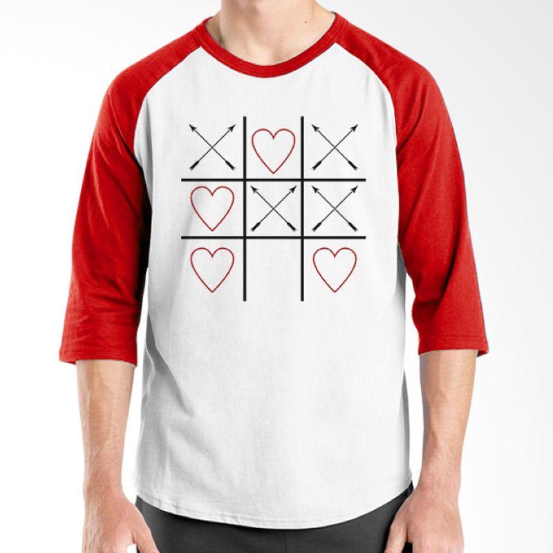 Ordinal Raglan Typography Love 04 Putih Merah T-Shirt Pria