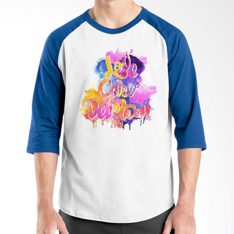 Ordinal Raglan Typography Love 05 Putih Biru T-Shirt Pria