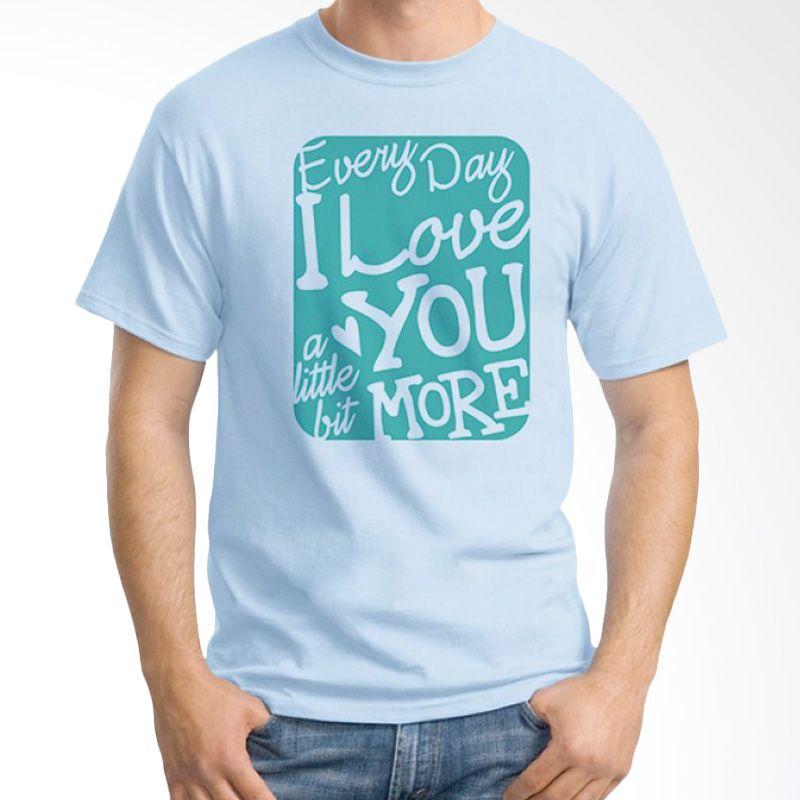 Ordinal Typography Love 07 Biru Muda Kaos Pria