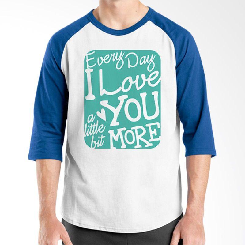 Ordinal Raglan Typography Love 07 Putih Biru T-Shirt Pria