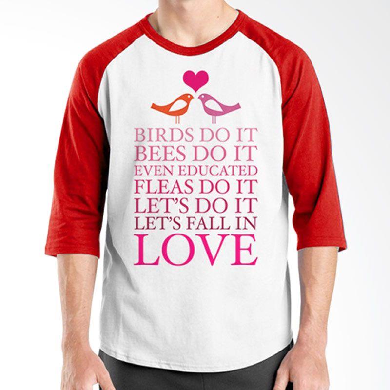 Ordinal Raglan Typography Love 09 Putih Merah T-Shirt Pria