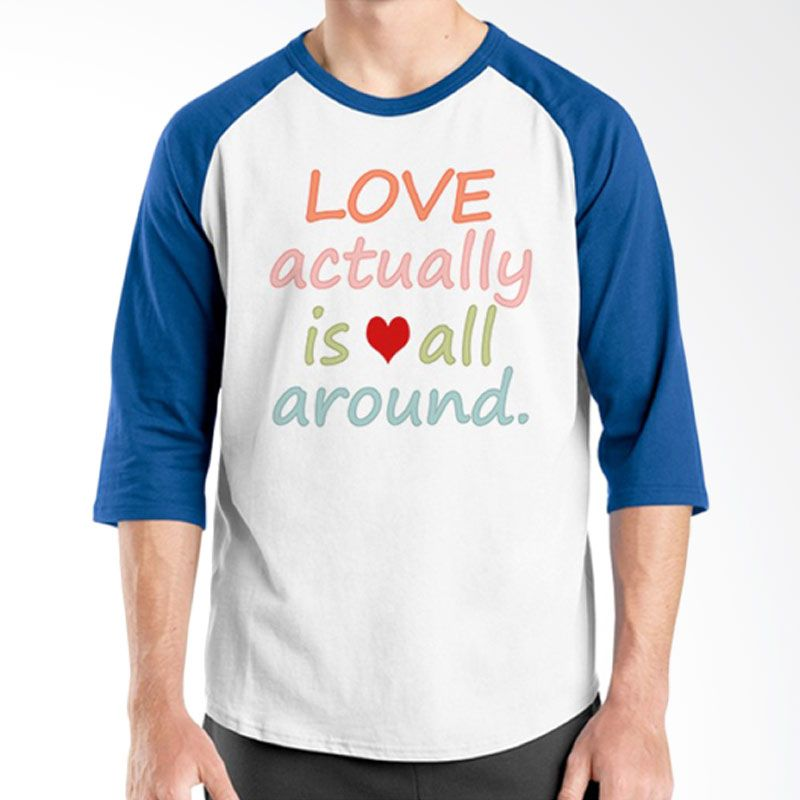 Ordinal Raglan Typography Love 11 Putih Biru T-Shirt Pria