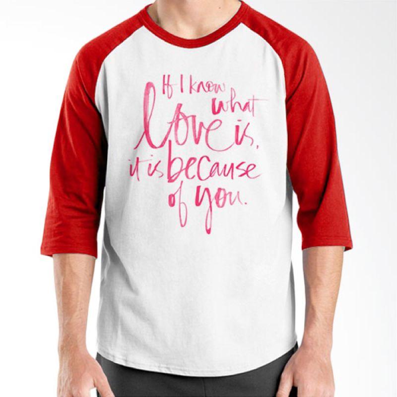 Ordinal Raglan Typography Love 12 Putih Merah T-Shirt Pria