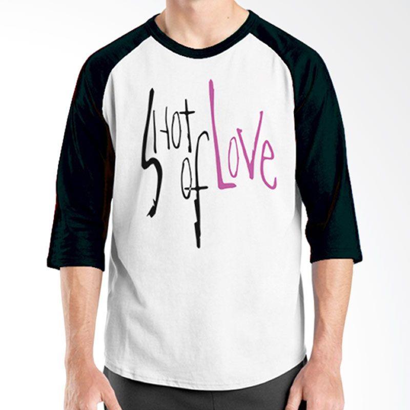 Ordinal Raglan Typography Love 13 Putih Hitam T-Shirt Pria