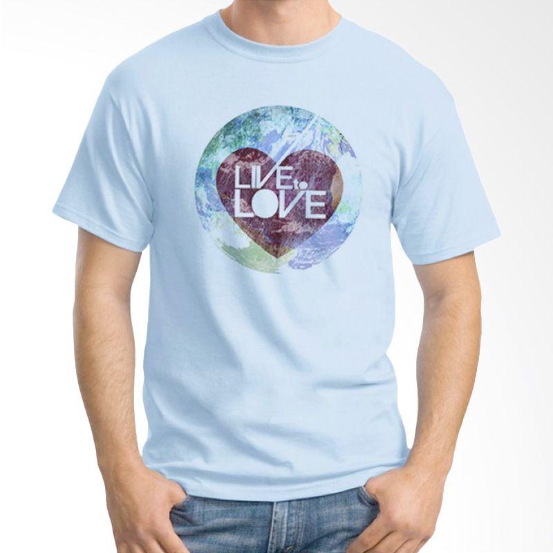 Ordinal Typography Love 15 Biru Muda Kaos Pria