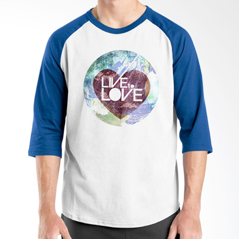 Ordinal Raglan Typography Love 15 Putih Biru T-Shirt Pria