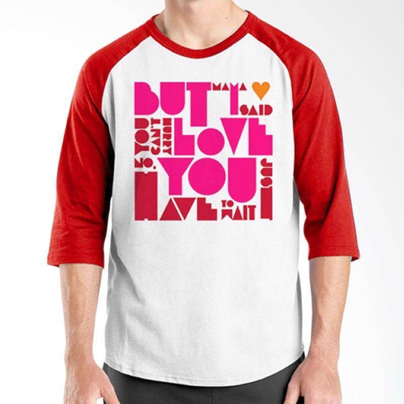 Ordinal Raglan Typography Love 17 Putih Merah T-Shirt Pria