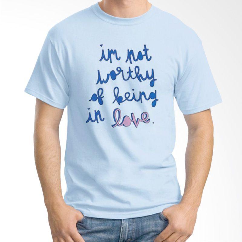 Ordinal Typography Love 18 Biru Muda Kaos Pria