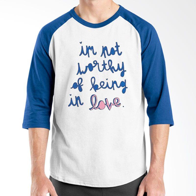Ordinal Raglan Typography Love 18 Putih Biru T-Shirt Pria