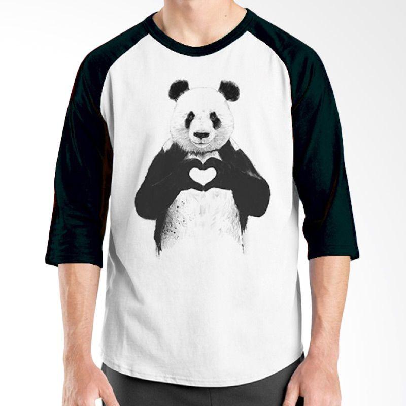 Ordinal Typography Love 19 Raglan Putih Hitam T-Shirt Pria