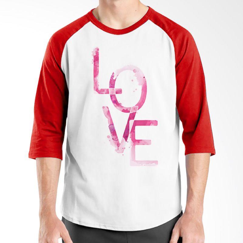 Ordinal Typography Love 25 Raglan Putih Merah T-Shirt Pria