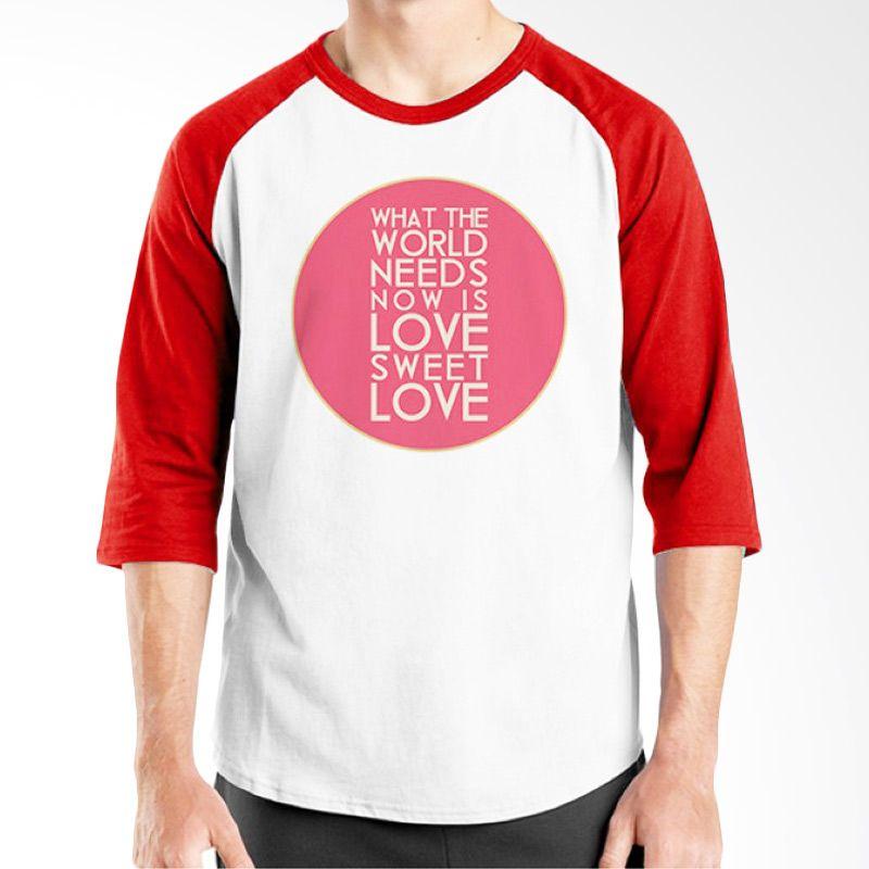 Ordinal Typography Love 26 Raglan Putih Merah T-Shirt Pria