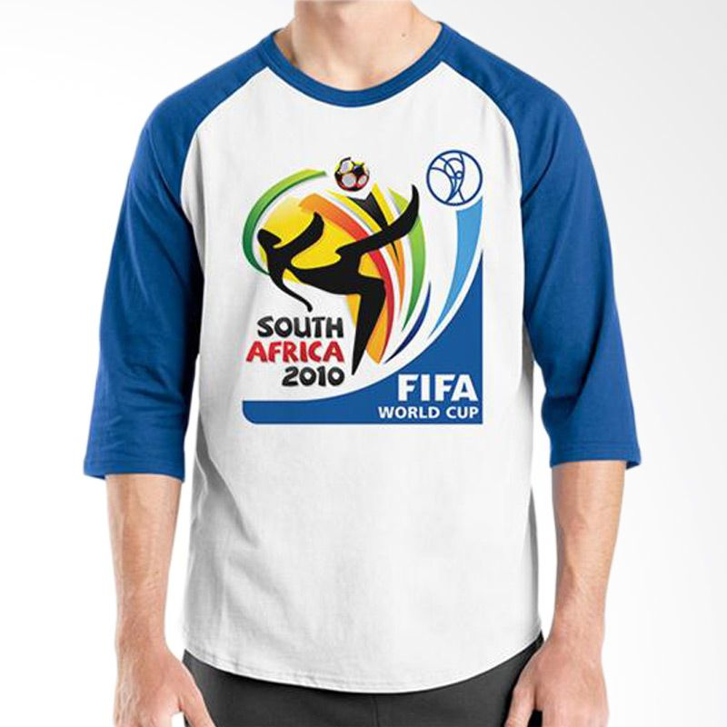 Ordinal Raglan World Cup Classic Edition 04 Biru Putih T-Shirt Pria