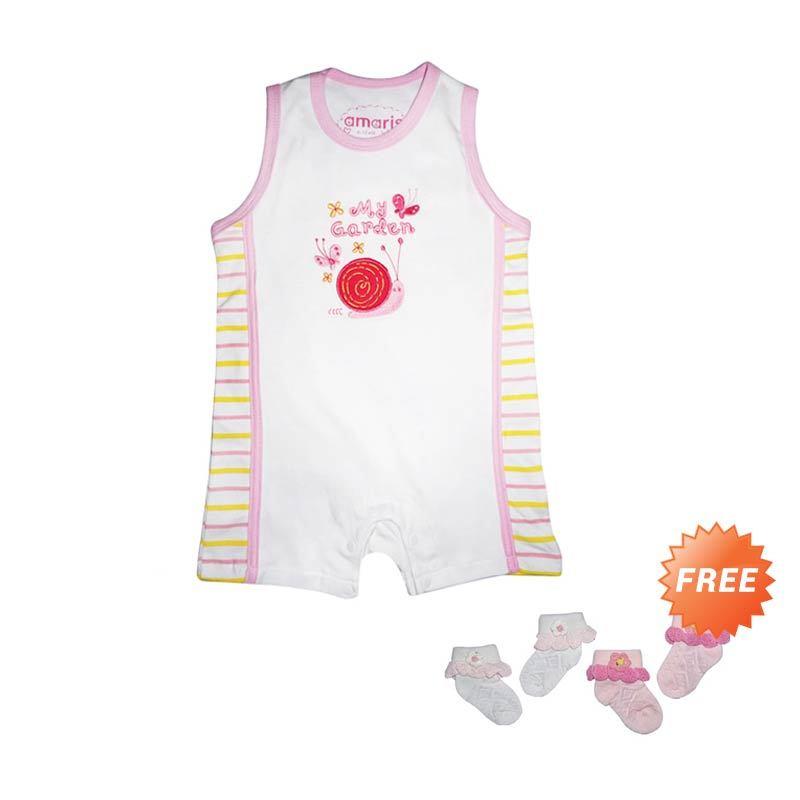 Amaris 002-B GFS Romper Pink Baju Jumpsuit Bayi + Kaos Kaki