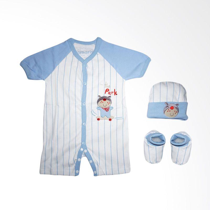 Amaris Baby Gift GF 001 Stripe Blue Romper Setelan Bayi