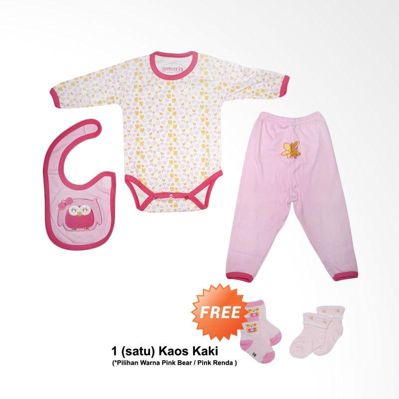 Amaris Baby Gift GF 002 Pink White Jumper Setelan Bayi