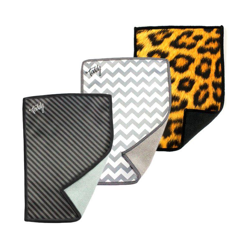 Toddy Gear Trio Silver Chevron Black Diagonal dan Leopard Kain Microfiber