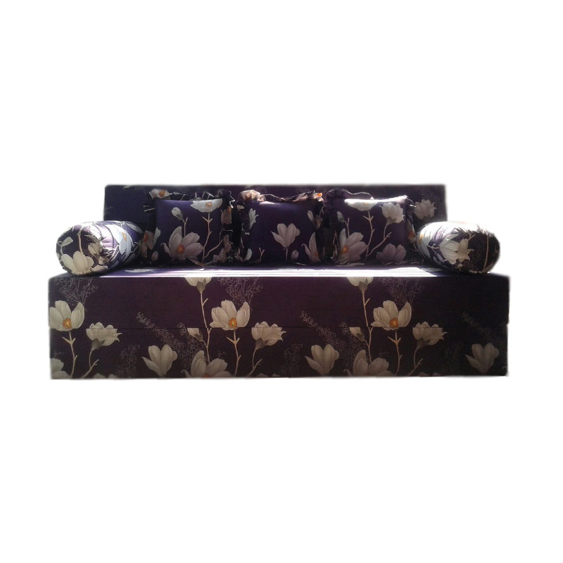 Anoria Sofabed Motif Brown Flowers [Queen/200x160x20 cm]