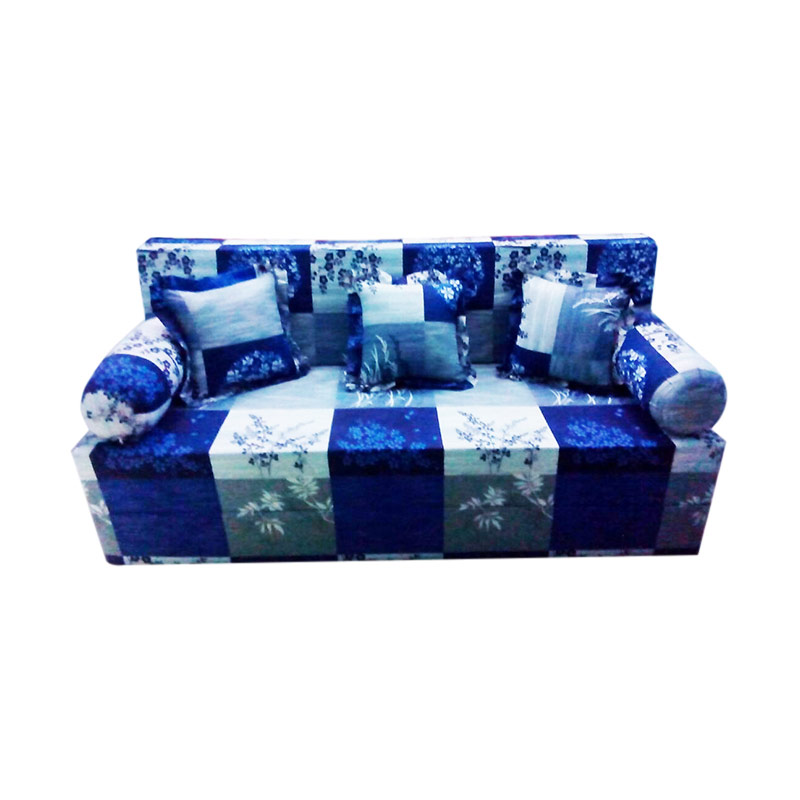 Anoria Sofabed Motif Square Blue Flowers [Queen/200x160x20 cm]