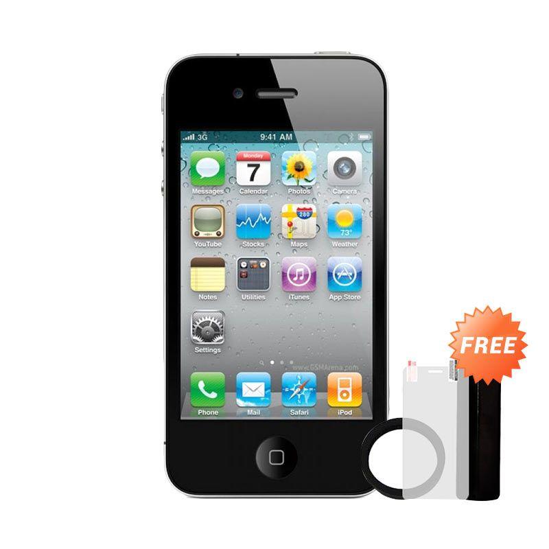 harga Apple iPhone 4s 16GB Smartphone - Hitam [Refurbsih/ Grade A] + Free Powerbank Advance 3200 mAh + Elastic Ring Bumper + Tempered Glass Blibli.com