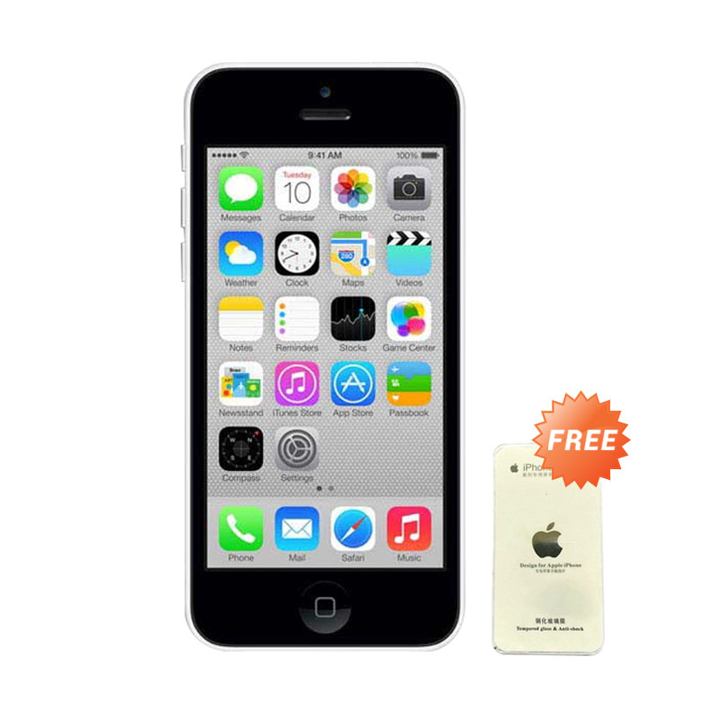 Diskon Apple iPhone 5C White Smartphone [32 GB] + Tempered Glass (Refurbish)