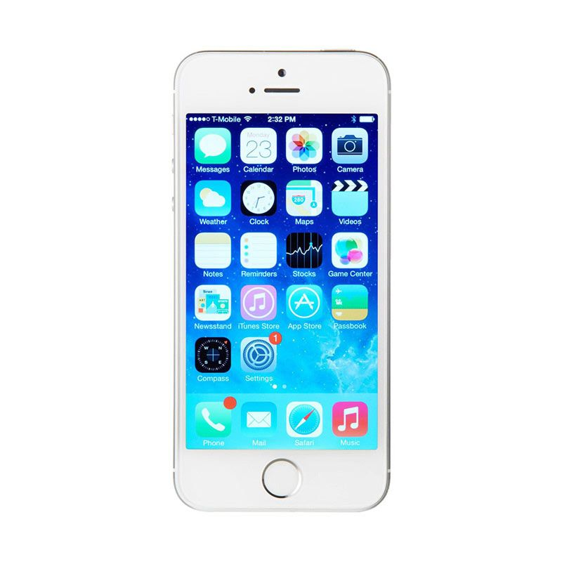 harga Apple iPhone 5S 64 GB Smartphone - Silver Free Tempered Glass Blibli.com