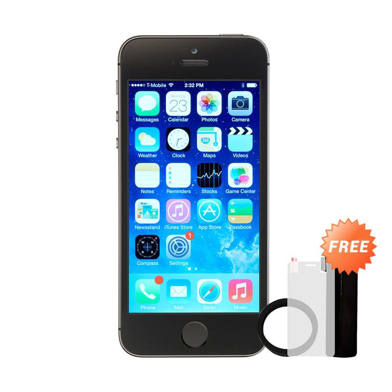 Apple iPhone 5S 16GB Smartphone - Grey [Refurbish/ Grade A] + Free Powerbank Advance 3200 mAh + Elastic Ring Bumper + Tempered Glass