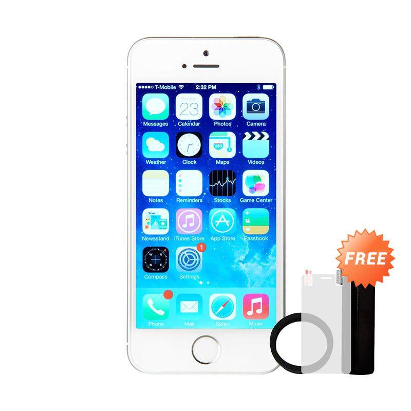 Apple iPhone 5S 16 GB Smartphone - Silver [Refurbish/Grade A] + Powerbank Advance 3200 mAh + Elastic Ring Bumper + Tempered Glass Screen Protector