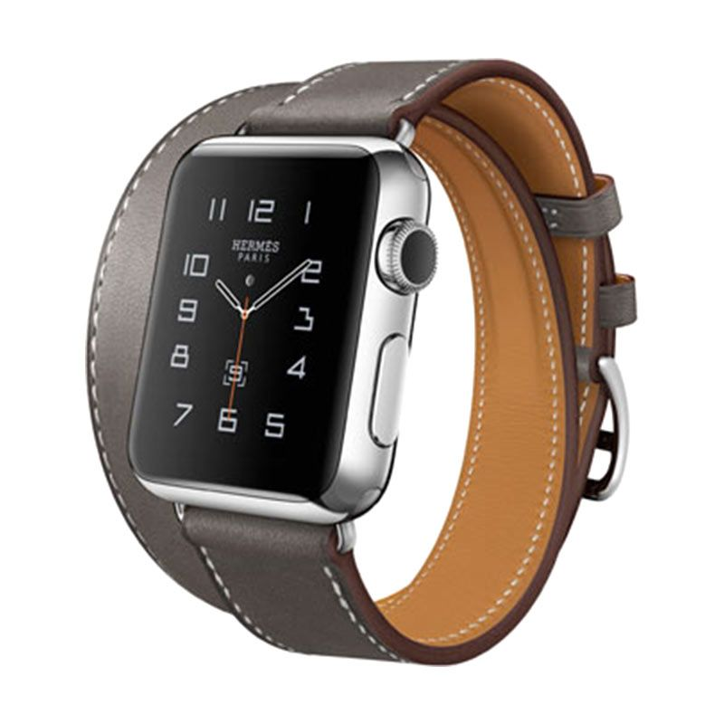 Apple Hermès Double Tour Etain Leather Band Smarttatch [38mm]
