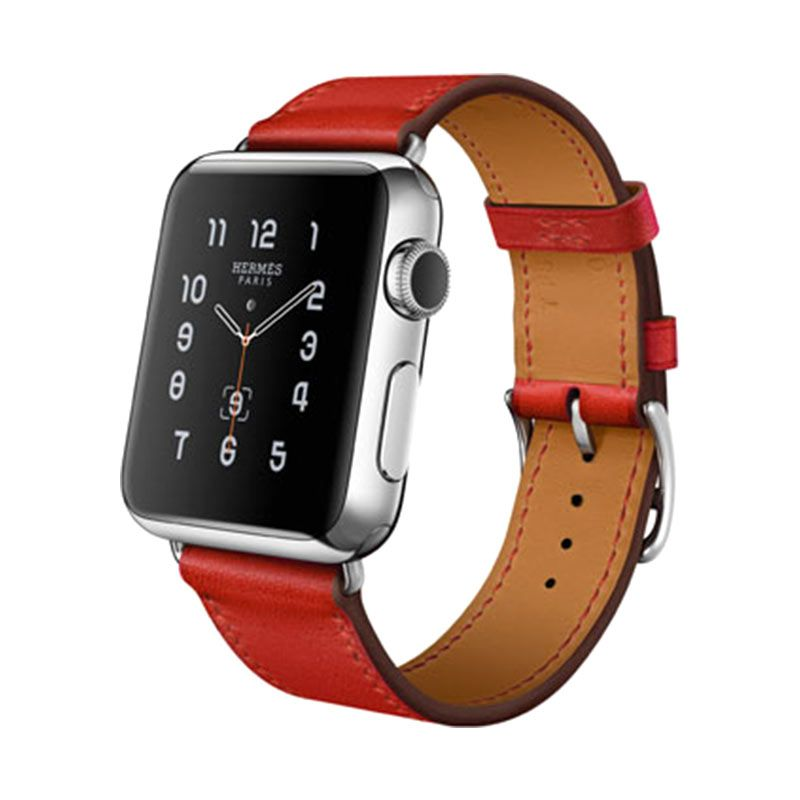 Apple Hermès Single Tour Capucine Leather Band Smartwatch [38 mm]