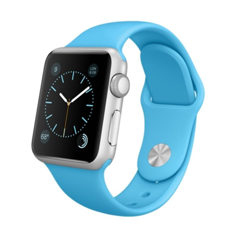 Apple Watch Silver Alumunium Case With Blue Sport Band [38mm]