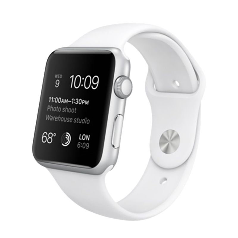 Apple Sport Silver Alumunium Case with White Band Smartwatch [42 mm]