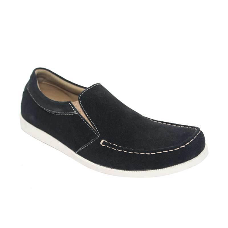 Raindoz Casual Slip Plain Black Sepatu Pria