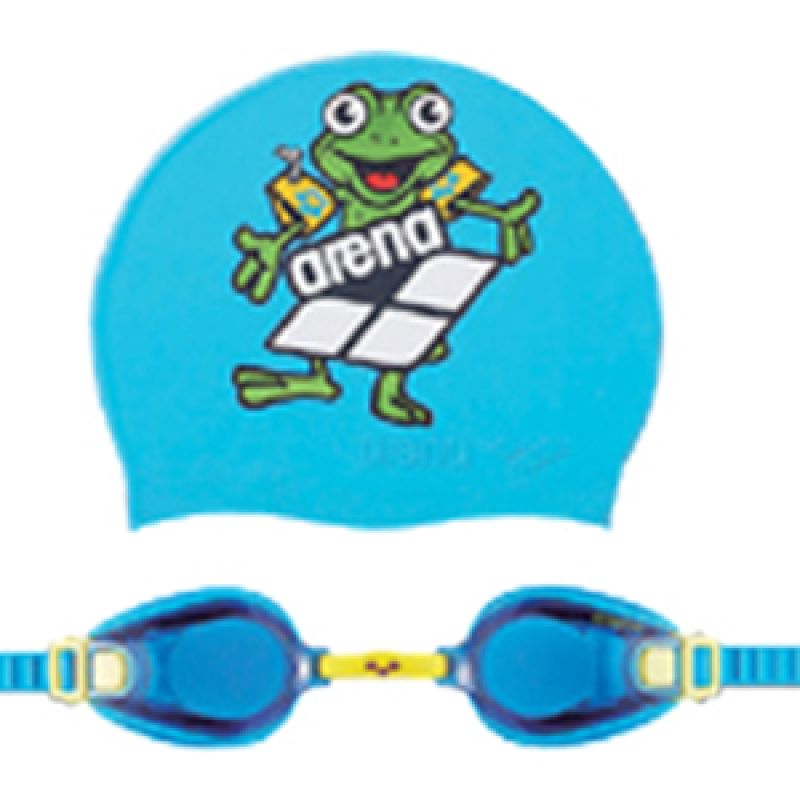 Arena Swim Goggles + Cap Junior BLU AGG 360JS