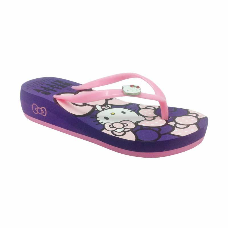 Hello Kitty Original Sendal Wedges Pink Purple
