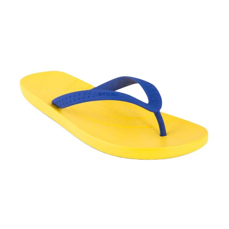 Crocs Chawaii Flip Flop Sunshine Cerulean Blue Yellow Sandal Wanita