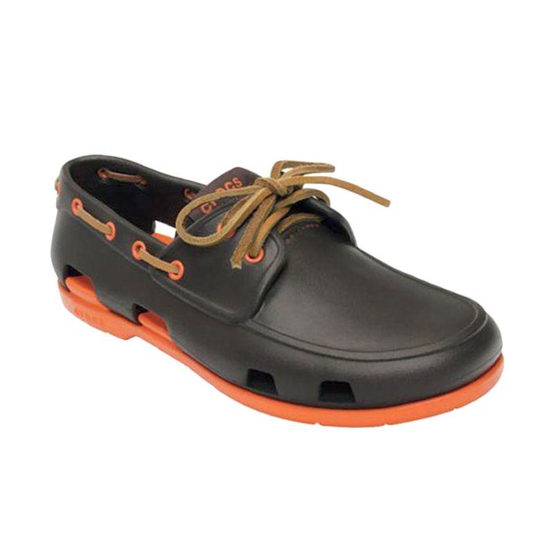 Crocs Men's Beach Line Boat Espresso Orange Sepatu Pria