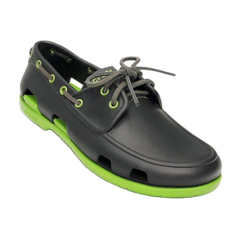 Crocs Men's Beach Line Boat Onyx Volt Green Sepatu Pria