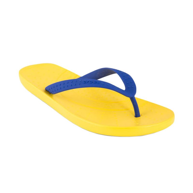 Crocs Men's Chawaii Flip Flop Sunshine Cerulean Blue Sandal Pria