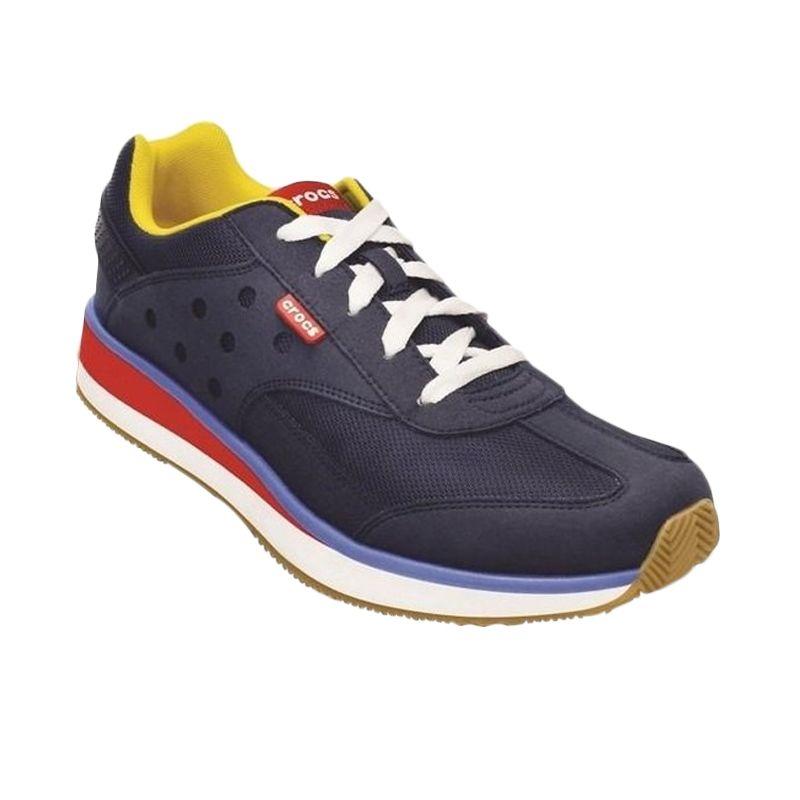 Crocs Mens Retro Sneaker Navy Red Sepatu Pria